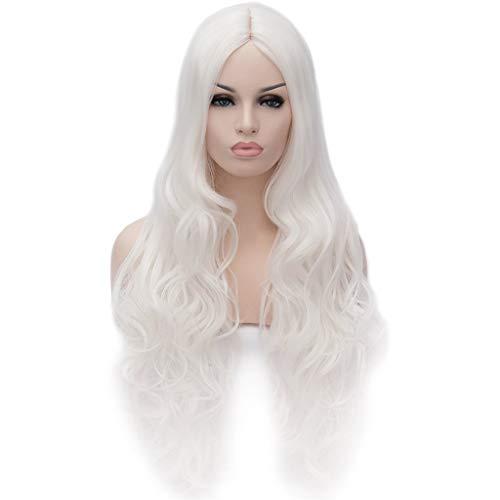 ATAYOU® lange gewellte lockige synthetische Cosplay Perücken für Frauen Halloween und Party Fancy Dress mit 1 Freie Perücken Kappe (Weiß)