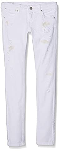 Pepe Jeans Swirl Curl, Jeans Fille, Blanc (Denim), FR: 14 ans (Taille Fabricant: 14)