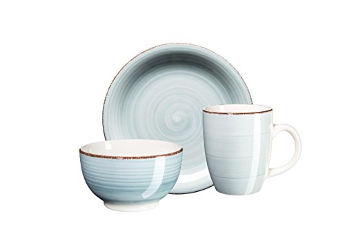 Mäser, Serie Bel Tempo, handbemaltes Keramik Frühstücksset 6-teilig, für 2 Personen, in der...