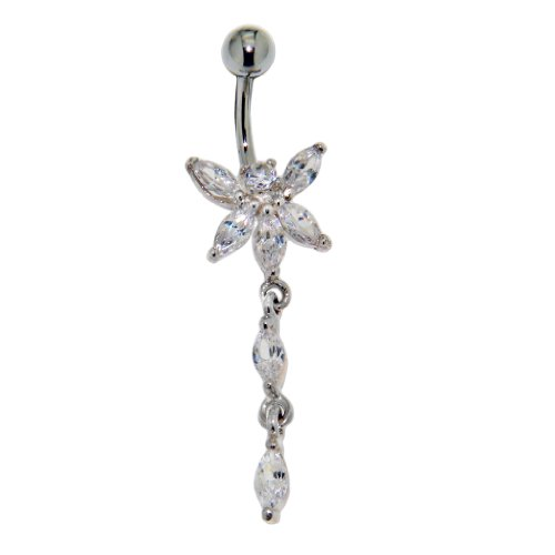 Bauchnabel Piercing Schmuck - Crystal Belly Line Große Libelle mit Kristallen - Chirurgenstahl und Silber -