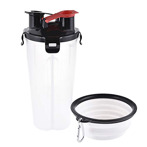 ZALA Pet Wasser Tasse, 2 in 1 Doppelzimmer Trinkflasche Haustier Hund Katze Futter Futter Aufbewahrungsbehälter Outdoor Trinkwasser Flasche Heimtierbedarf tragbare Faltbare Haustierschüssel -