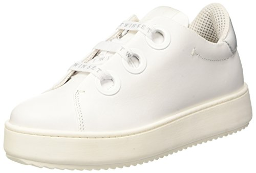Twin Set Damen CS7PH3 Sneaker, Bianco (Bianco Seta), 36 EU (Zip Estate Leder)