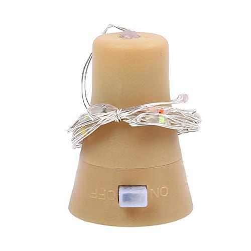 Rrunzfon Solar-Korken Weinflasche Stopper Schnur-Licht-Solar Cork 10 LED glühender Lampensatz Kupferdraht-Schnur-Licht-Fee-Lampen Innen Partei Kunststoff Dekor 6PCS Weiß -