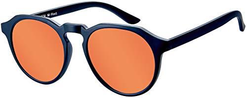 La Optica B.L.M. UV400 CAT 3 Unisex Damen Herren Sonnenbrille Rund Fashion - Einzelpack Matt Schwarz (Gläser: Rot verspiegelt)