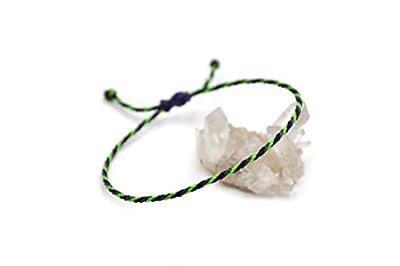 """Bracelet Violet Noir & Vert""""Fluo"""" Corde Simple   Fin Cordon Souple de 2 mm   Tressé Avec Du Fil Ciré   Ajustable Unisexe et Résistant à l' Eau   Réf.#Tri15"""