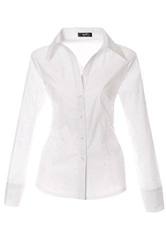 Bestyledberlin Damen Blusen Hemd langarm Oberteil, Stretch Damenbluse Basic Tailliert t85a-neu 42/XL weiß