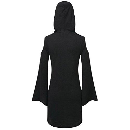 Killstar Damen Kapuzenkleid / Longshirt - Dee Spare Mini Kleid mit Kapuze und Schulterausschnitt Schwarz