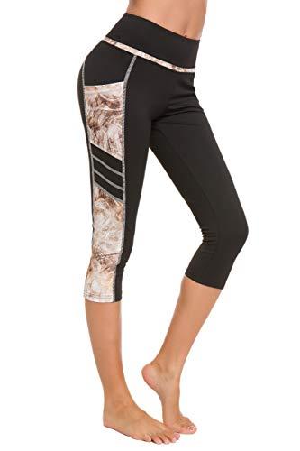 Munvot Damen Sporthose Sport leggings Tights, Yb1931-63(gelb Muster), M (38-40)
