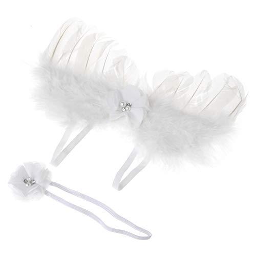 Mädchen Neugeborenes Baby Kinder Blumen Feder Spitze Stirnband & Angel Wings Foto Prop (Verschiedene Arten Von Angel Wings)