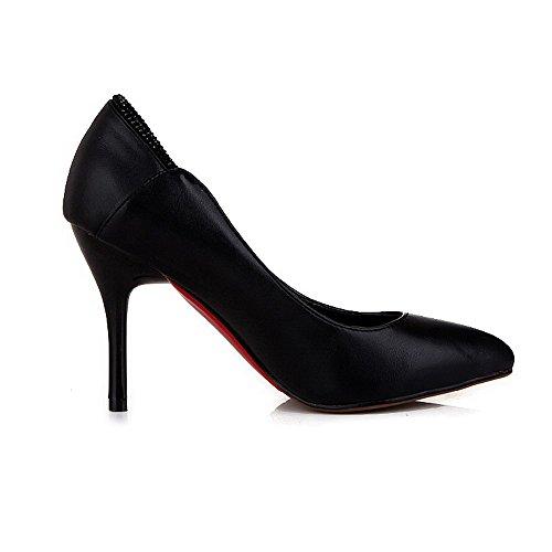 VogueZone009 Femme Tire Fermeture D'Orteil Pointu Stylet Pu Cuir Couleur Unie Chaussures Légeres Noir