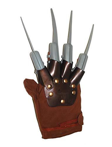 Karnevalsbud - Kostüm Accessoires Zubehör, Freddy Krüger Handschuhe, Nightmare,Gloves, perfekt für Halloween Karneval und Fasching, Braun