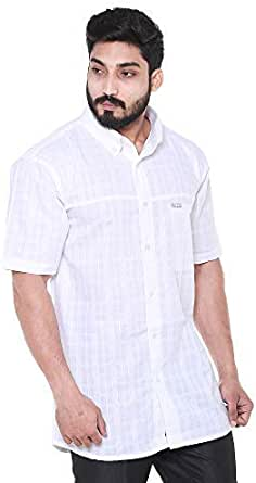 Twist Men's Solid Linen Half Sleeve Shirt