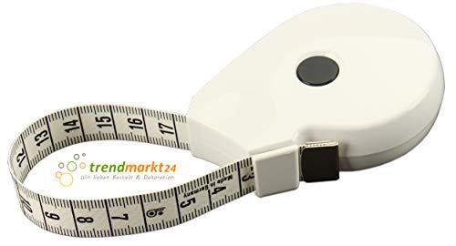 weiß Bodymaßband / Körpermaßband Made in Germany Rollmaß zum Nähen 1,5 m zum aufrollen Ideal für Hebamme Schneider Orthopädie Physiotherapie Arzt Fitnesstrainer | 99120-A- ()