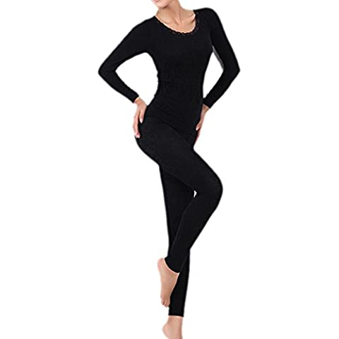 SODIAL(R)Mujer Cuello redondo Conjunto termico Invierno Chaqueta&pantalones larga ropa interior Conjunto de Pijama Negro