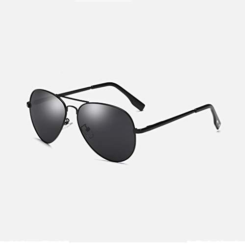 MWPO Polarisierende Sonnenbrille Neue männliche und weibliche metallische Klassische große Bunte Rahmenfrosch-Spiegelmode, die Gläser fährt. (Farbe: schwarzer Rahmen graue Linse)
