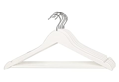 Vinsani Wooden White Hanging Coat Garment Jacket Clothes Hangers With Bar 10 Pieces by Vinsani