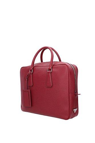 VS0305RUBINO Prada Serviettes Homme Cuir Rouge Rouge