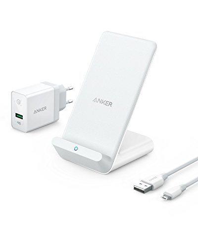 Anker PowerWave 7.5 Stand. Caricabatterie Wireless a Ricarica Veloce 7.5W per iPhone X, iPhone 8/8 Plus e Carica Veloce 10W per Samsung S8/S8+/S7, con Caricabatterie da Muro Quick Charge 3.0 Incluso.