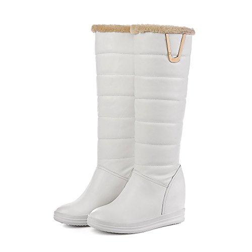 VogueZone009 Donna Tirare Cuneo Luccichio Chiodato Alta Altezza Stivali Bianco