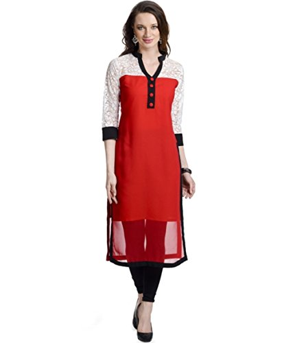 Fusion Multicolor Cap Half Long Short Sleeve Sleeveless Kurtis Kaftan for Girls (GT-KVG-R-XXL)