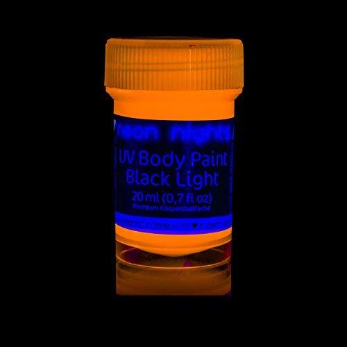 neon nights UV-Licht Bodypainting Schminke | Schwarzlicht-Körperfarbe für Body und Facepainting | Fluoreszierende Farben im Schminkset für knalligen Glow-Effekt | 8 x 20ml Leucht-Farben - 4