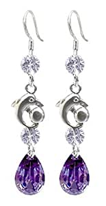 Lovely fashion Silver Dangle Earring by BodyTrend - embellished with Clear and Amethyst Swarovski crystals - Perfect for any dress - packed in a cute velvet pouchette