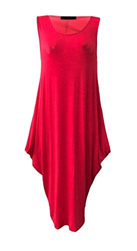 Maillot sans manches pour dames Tunique italienne Lagenlook Tulip Parachute Dress EUR Taille 36-54 Rouge