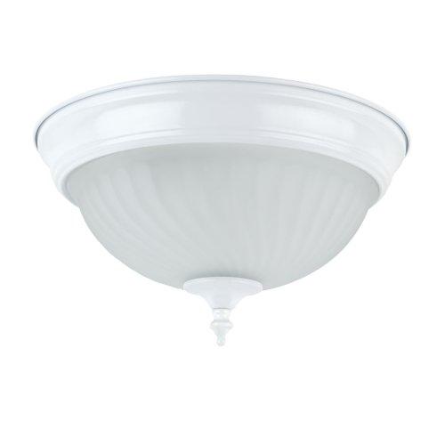 Globe Electric 62612011Licht 27,9cm Flush Mount Deckenleuchte-, weiß Finish mit Frosted Swirl Glasschirm -