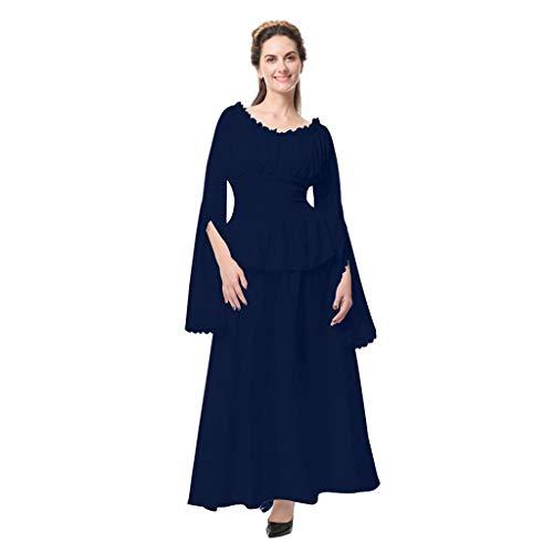 Damen Vintage Maxi Kleider Retro Renaissance Mittelalter