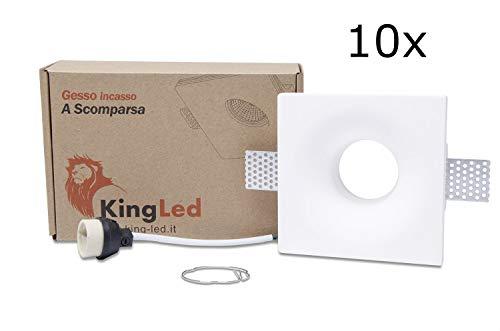 KingLed - 10pz Portafaretto in Gesso CERAMICO da Incasso Conico per Controsoffitti per GU10 e MR16 COD.1426