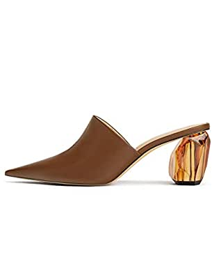 82802de8fb039 Zara Women's Geometric Heel Leather Mules 1230/001 Brown: Amazon.co ...