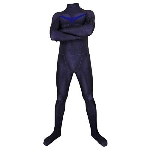 Nightwing Kostüm Cosplay - FHTD Nightwing Phantasie Strumpfhosen Kostüm Kostüm Halloween Weihnachten Requisiten Erwachsenes Kind Cosplay Overall Party Kleid,Schwarz,MenXXL