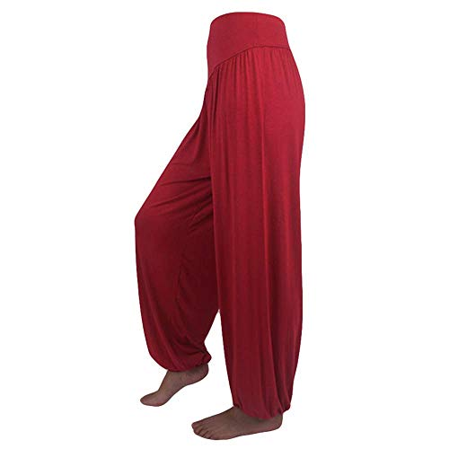 WOZOW Yoga Hosen Damen Baggy Solid Einfarbig Aladdin Indian Thiland Lang Long Bloomers Soft Loose Lose High Waist Casual Bequem Haremshose Pumphose Trousers Stoffhose Freizeithose (XL,Dunkelrot) Velour Hoodie Track