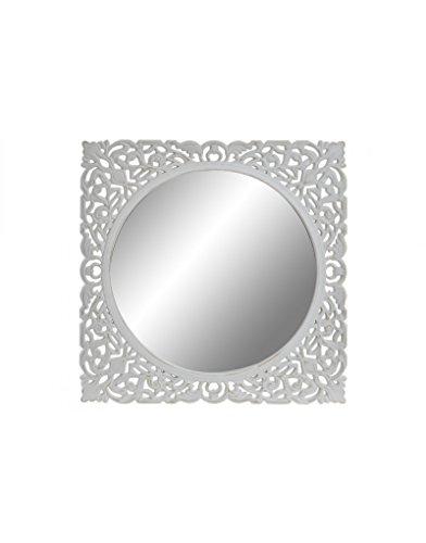 Espejo de Pared, Cuadrado, de Madera Tallada, Color Blanco Roto. Diseño Vintage, para Entrada/Salón - Hogar y Más