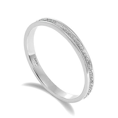 JewelleryBox Gefrostet Sterlingsilber Voll Ewigkeit Ring 48 (48-65 Erhältlich)