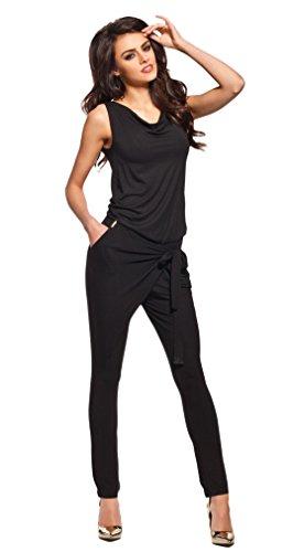 Lemoniade stylischer Jumpsuit ohne Ärmel mit elegantem Wasserfallkragen, schwarz, Gr. S -