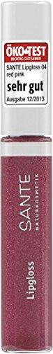 SANTE Naturkosmetik Lipgloss No. 04 red pink, Brillianter Glanz und langanhaltende Pflege,...