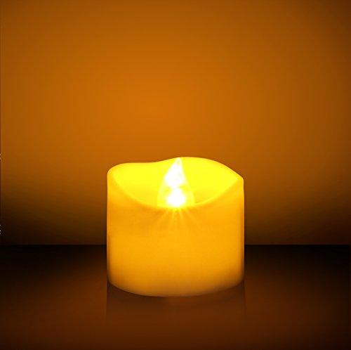 Velitas parpadeantes LED sin llama con batería (sin aroma, 60 horas de duración). Ideal para cumpleaños, bodas, diestas, Halloween y Navidad - Paquete de 12 velitas redondas en amarillo