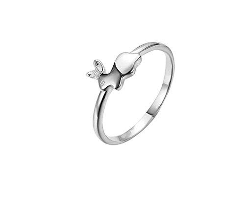 AieniD Edelstahl Ring zum Damen Hase-Gestalten Weiß, Rosette Gold, Gelb