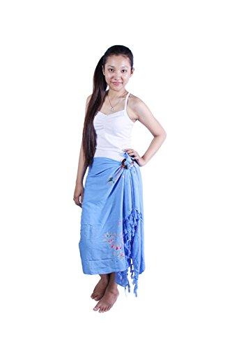 Riesen Auswahl Ca 95 Modelle Sarongs Pareo Sarong Sari Wickelrock Lunghi Dhoti Sari Vintage Look Viele Farben Hell Blau