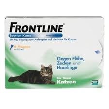 Frontline spot on Katze gegen Flöhe, Zecken und Haarlinge Spar-Set 2x3Pipetten; besonders tierfreundlich, da der Wirkstoff über die Talkdrüsen aufgenommen wird und somit nicht in die Blutbahn gerät (Floh-behandlung Katze)