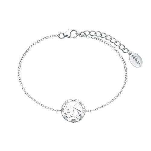 s.Oliver Armkette für Damen mit Weltkugel-Anhänger aus 925 Sterling Silber, längenverstellbar (16+3 cm) weiß