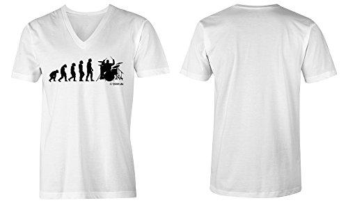 Evolution Drummer ★ V-Neck T-Shirt Männer-Herren ★ hochwertig bedruckt mit lustigem Spruch ★ Die perfekte Geschenk-Idee (02) weiss