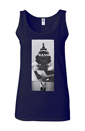 Bang Gun Killer Sexy Girl Novelty White Femme Women Tricot de Corps Tank Top Vest Bleu Foncé