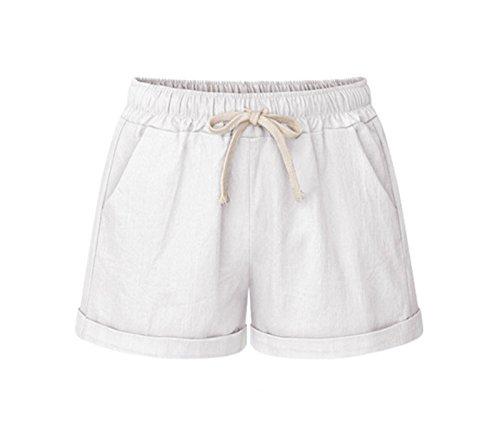 Elonglin Damen Bermuda Shorts Baumwolle Sommer Kurze Hose Casual Lose Sport Tunnelzug Freizeithosen Weiß DE XXL (Asie 4XL) -