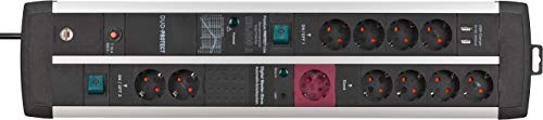 Brennenstuhl Premium-Protect-Line Steckdosenleiste 11-fach mit Überspannungsschutz, Master Slave Funktion und 2 Schalter (2-fach USB 3,1 A, 3m Kabel, Made in Germany) schwarz