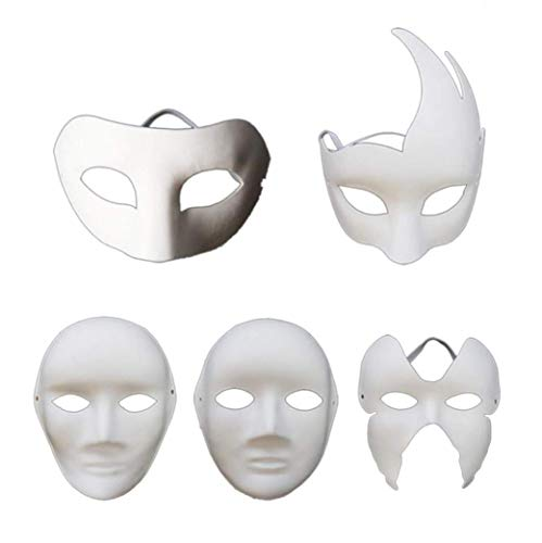 VPlus 5 Stücke Leere Maske DIY Hand Malen Halloween Dance Party Cosplay Bar Thema Party Requisiten