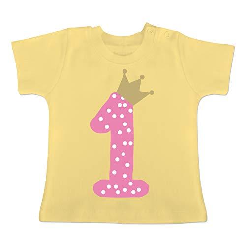 Geburtstag Krone Mädchen Erster - 12-18 Monate - Hellgelb - BZ02 - Baby T-Shirt Kurzarm ()