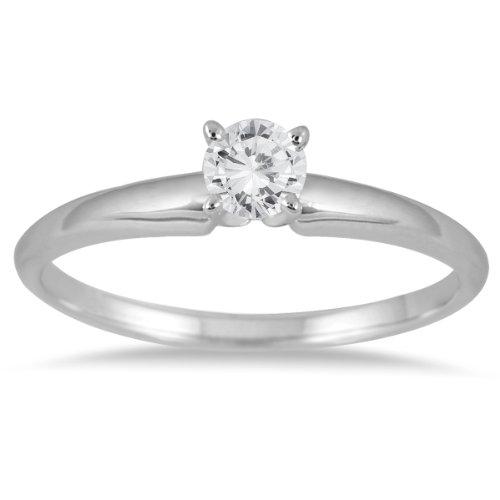 1/7Karat Rund Diamant Solitaire Ring in 14K Weiß Gold Solitaire Engagement Ring 14k