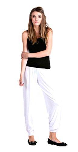 Pantalon de Survetement Sarouel Bouffant Pour Femmes Ceinture Élastique Neuf Blanc